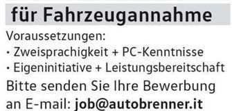 Auto Brenner Brixen sucht dich!