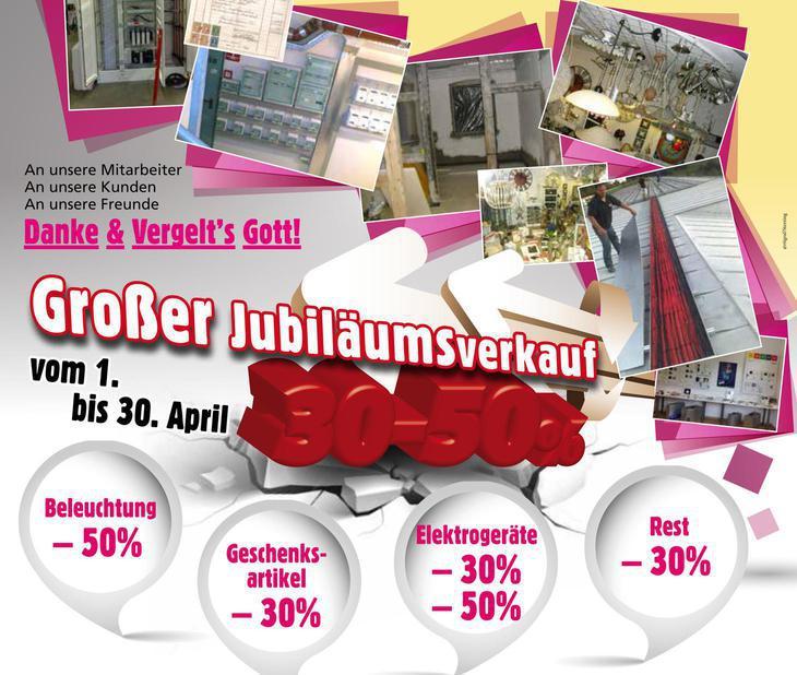 Großer Jubiläumsverkauf vom 1. bis 30. April