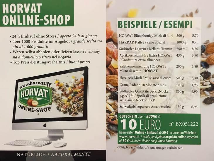 Online - shopping da Alimentari Horvat