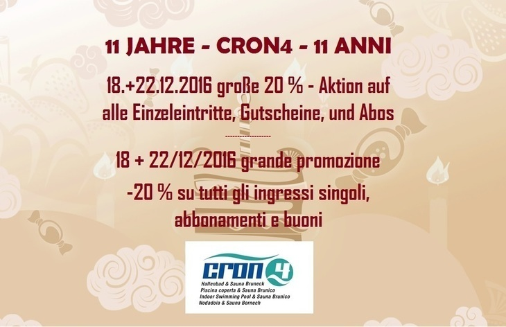 10 anni Cron4 - 20 % su tutti i biglietti d'entrata