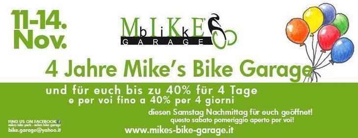 4 anni Mike's Bike Garage,per 4 giorni fino a 40% sul vostro acquisto!!