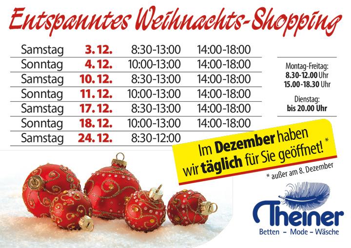 Entspanntes Weihnachts-Shopping durch unsere extra langen Öffnunszeiten!!!