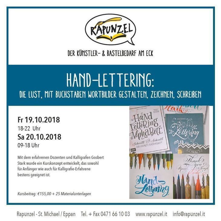 Hand-Lettering Workshop bei Rapunzel in Eppan