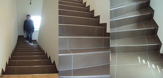 Treppe in Chocolate und Edelstahl