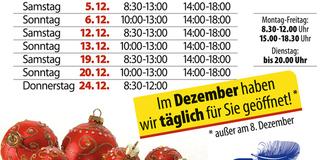 Unsere extra langen Öffnungszeiten im Dezember für ein entspanntes Weihnachtsshopping!!!!