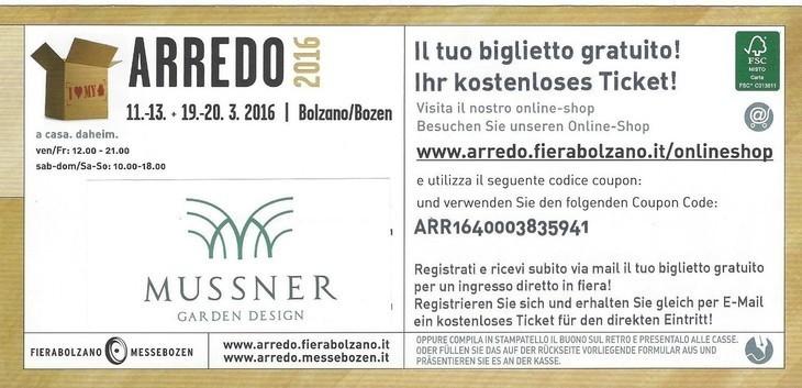 Messe ARREDO 2016 11-12-13 und 19-20 März 2016 Bozen