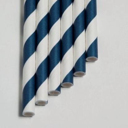 Papier Trinkhalme Blau